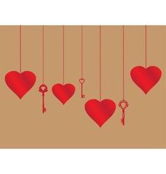 hearts and keys vector image vector image
