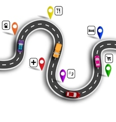 Infographic winding road with signs 3d cars vector