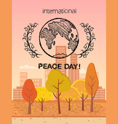 International peace day colorful logo with earth vector