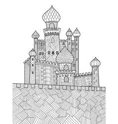 Castle and dragon coloring book royalty free vector image for Dragon and castle coloring pages