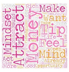 Mindset to attract money text background wordcloud vector