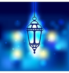 Ramadan lantern shiny background vector image