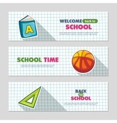 School flat banners vector