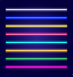 Set of color laser beams neon tube light vector