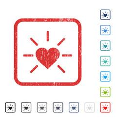 Shiny love heart icon rubber watermark vector