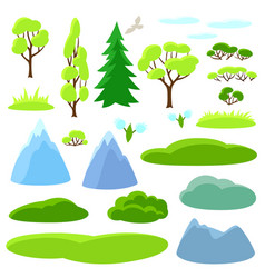 Spring set of trees mountains and hills seasonal vector