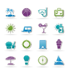 vacation and holiday icons vector image vector image