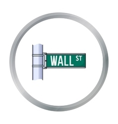Wall street sign icon in cartoon style isolated on vector