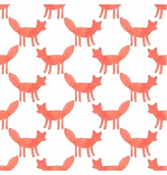 Watercolor seamless pattern with foxes on the vector