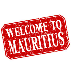 Welcome to mauritius red square grunge stamp vector