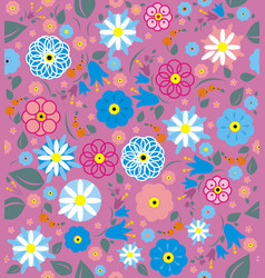 Wildflowers with leaves and berries vector