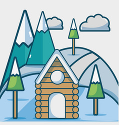 Winter season with cabin and pine trees vector