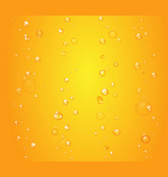 Yellow drops of orange juice or beer bubbles vector