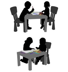 Kids drawing and coloring with crayons vector