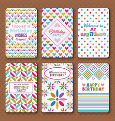 Set of bright happy birthday invitation cards vector