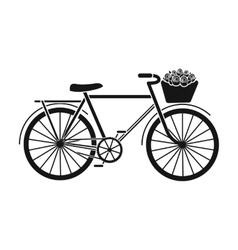 Pink bicycle with basket icon in black style vector image