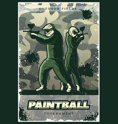 vintage colorful paintball club poster vector image