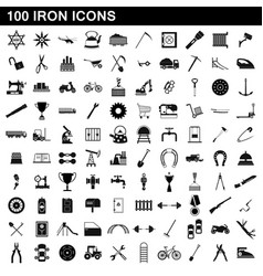 100 iron icons set simple style vector