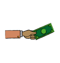 Business hand man holding banknote dollar vector