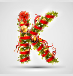 christmas font letter k of christmas tree vector image
