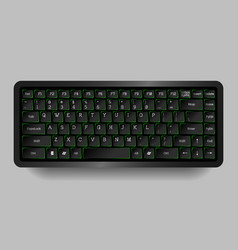 Black compact keyboard with green neon vector