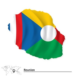 Map of Reunion with flag vector image