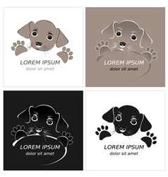 Cartoon cute outline dog vector