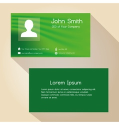 Simple green abstract color business card design vector