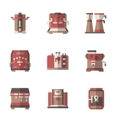 Coffee making equipment flat simple icons vector