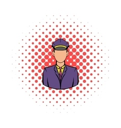 Railroader in uniform icon comics style vector