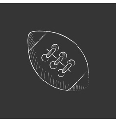 Rugby football ball drawn in chalk icon vector