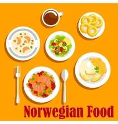 Fish dishes of norwegian cuisine flat icon vector