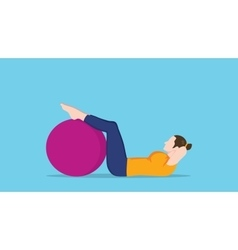 Women sit up use exercise ball graphic vector