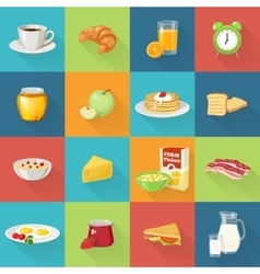 Breakfast Food Square Icon Set vector image