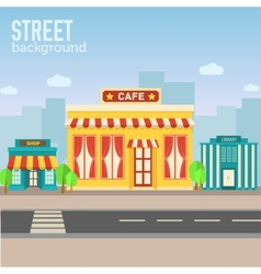 Cafe building in city space with road on flat syle vector
