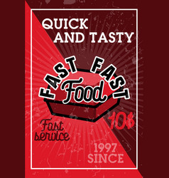 Color vintage fast food banner vector