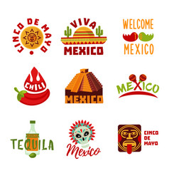 Colorful mexico logotypes set vector
