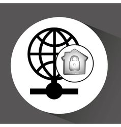 Computer data protection globe icon vector
