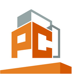 construction business logo with the initials vector image vector image