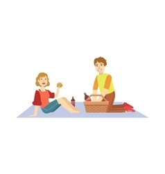 Couple eating burgers on picnic vector