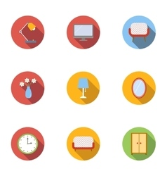 Furniture icons set flat style vector