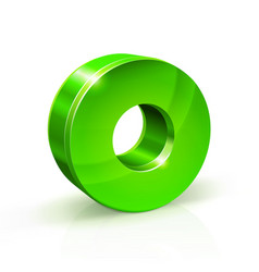 glossy green zero 0 number 3d on vector image