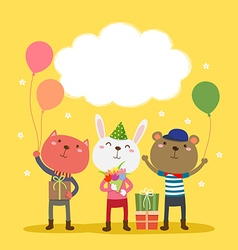 Happy birthday card design with cute animals vector image vector image