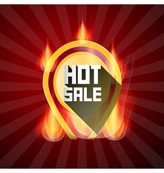 Hot Sale Yellow Label in Flames Fire on Retro Red vector image vector image