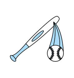 isolated baseball bat and ball design vector image