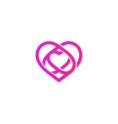 Isolated pink abstract monoline heart logo love vector