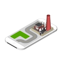 Isometric icon representing factory building with vector