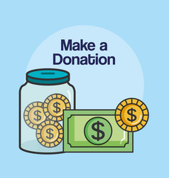Make a donation sign container money coin charity vector
