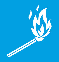 Match flame icon white vector