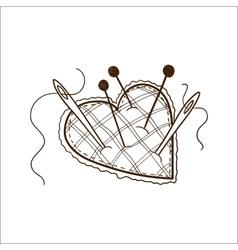 Pin cushion in a heart shape vector